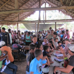 patients waiting to register at the clinic Honduran Children Medical Brigades